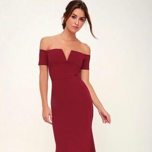 Lulu's Lynne Burgundy Off-The-Shoulder Maxi Dress